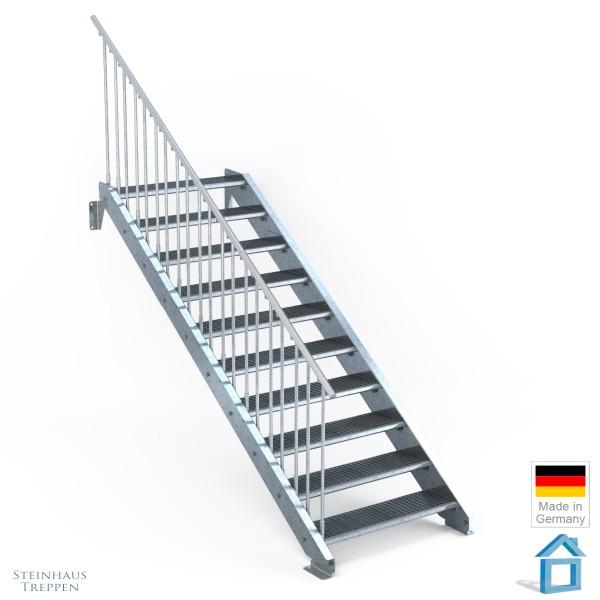 Außentreppe 10 Stahl Stufen 100 cm 11 Steigungen