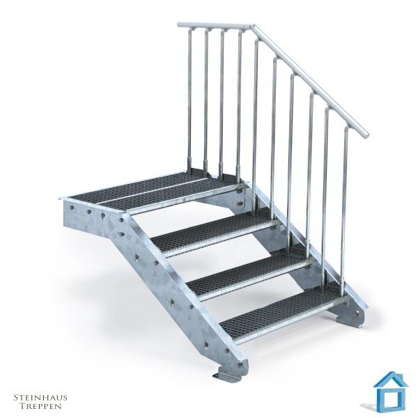 Stahltreppe 4 Stufen 100 cm Breite mit Podeststufe