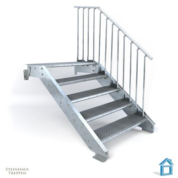 Stahltreppe 5 DIN Stufen bis 100 cm Höhe mit Podeststufe