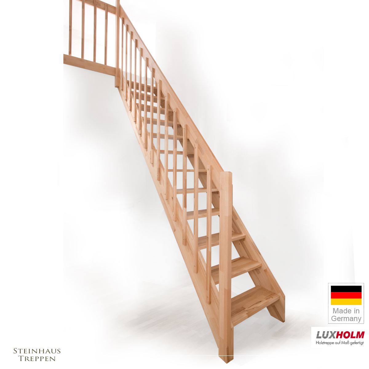 holztreppe buche mit gel nder in treppenbreite 75 cm modell rh n mit verstellbaren vollen. Black Bedroom Furniture Sets. Home Design Ideas