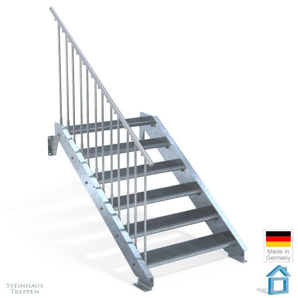Außentreppe 6 Stahl Stufen 100 cm 7 Steigungen