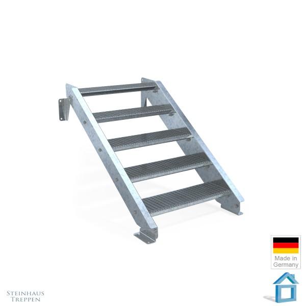 Außentreppe 5 Stahl Stufen 80 cm 6 Steigungen