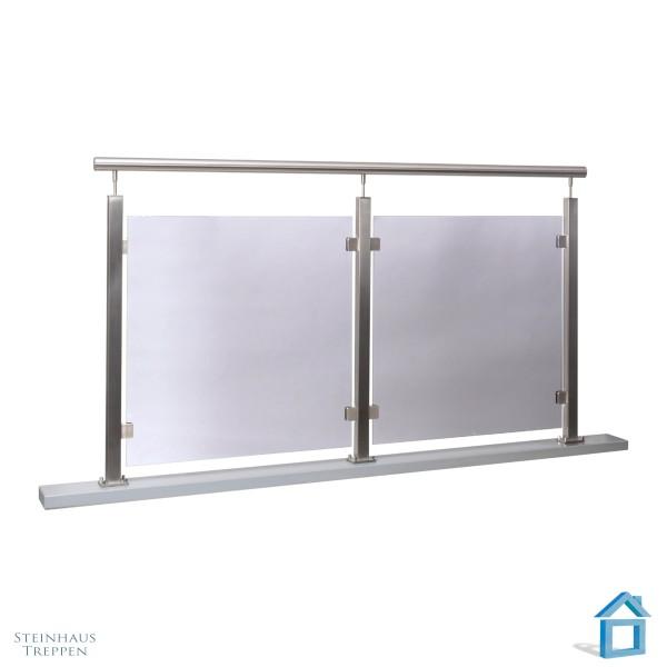 Balkon Brüstung Edelstahl mit Glas