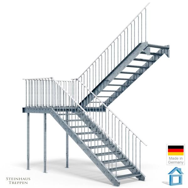Stahltreppe halbgewendelt 100 cm Breite 2te Etage Mittelpodest GH 420 cm