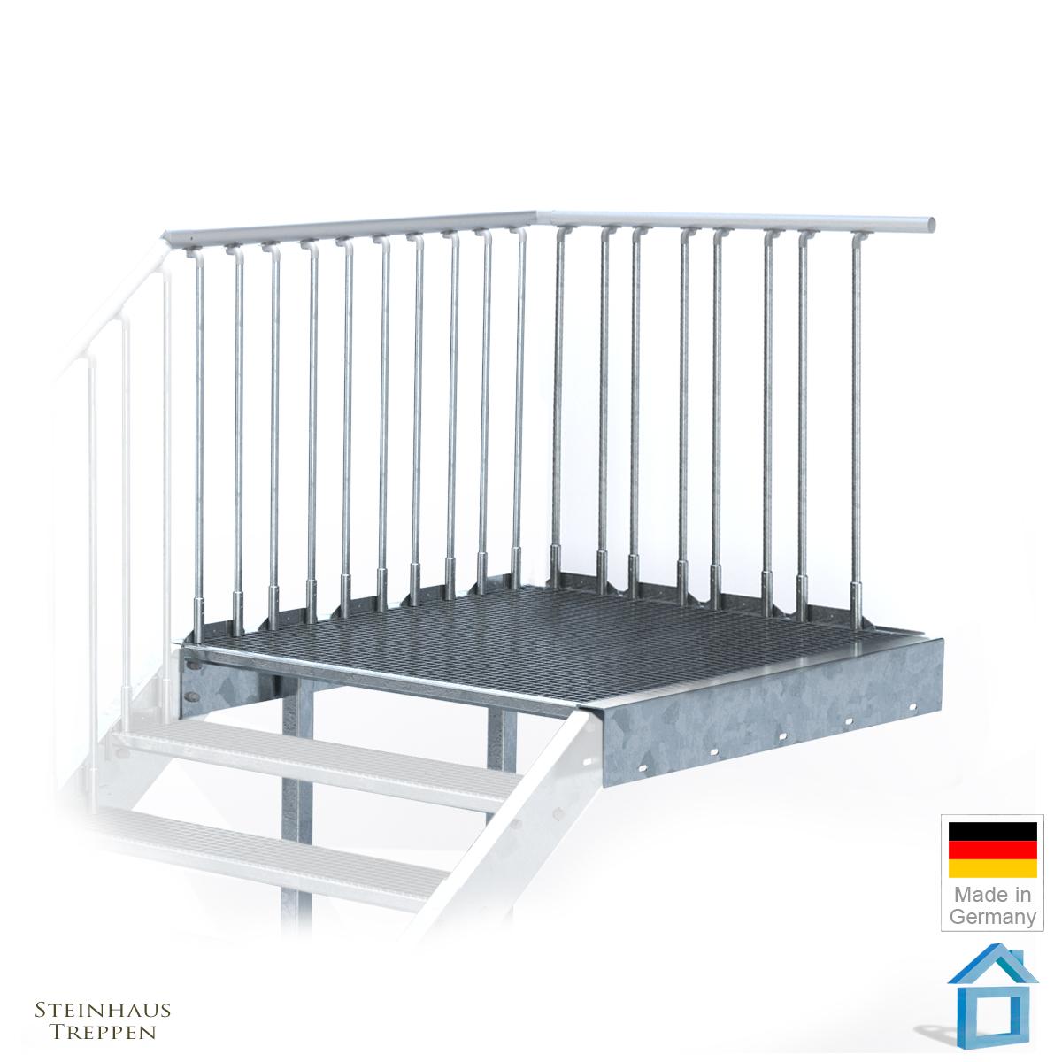 feuerverzinkte stahlrahmen podest mit stahlgel nder und din stahlstufen steinhaus treppen. Black Bedroom Furniture Sets. Home Design Ideas