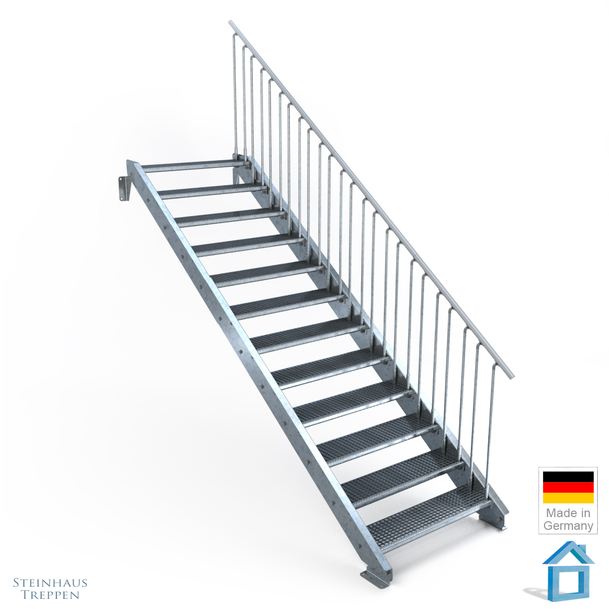 stahltreppe mit 12 stufen mit gitter belag 100 cm breite treppe f r h he max 260 cm steinhaus. Black Bedroom Furniture Sets. Home Design Ideas