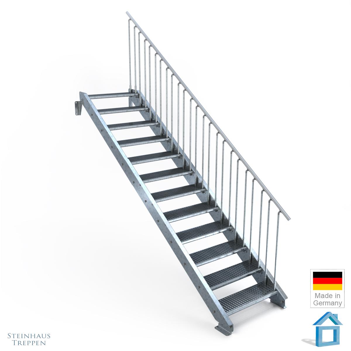 stahltreppe feuerverzinkt mit 12 stufen mit gitterrost 80 cm breite treppe steinhaus treppen. Black Bedroom Furniture Sets. Home Design Ideas