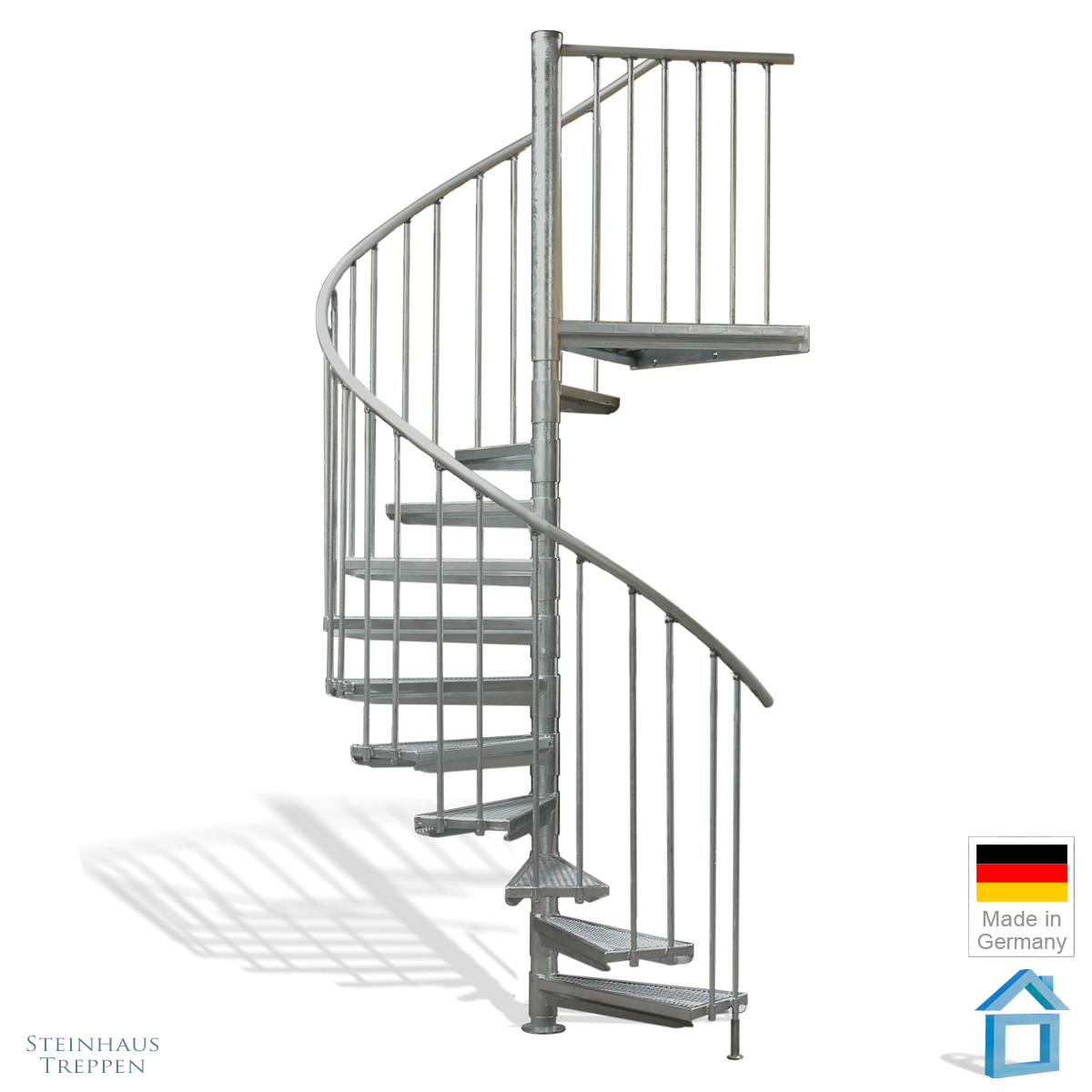 stahl wendeltreppe am balkon 160 cm durchmesser bis 282 cm h he gh max 446 cm steinhaus. Black Bedroom Furniture Sets. Home Design Ideas