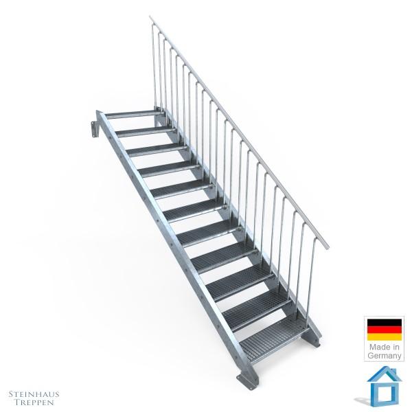 Außentreppe 11 Stahl Stufen 80 cm 12 Steigungen