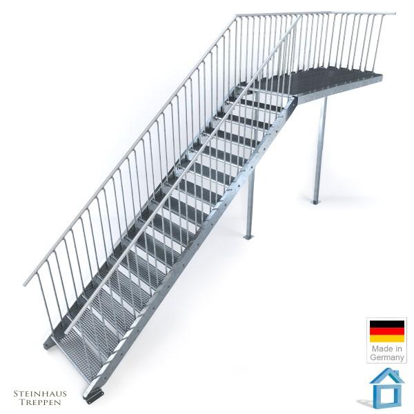 Außentreppe mit Podest 162 cm, 16 Stahlstufen 100 cm