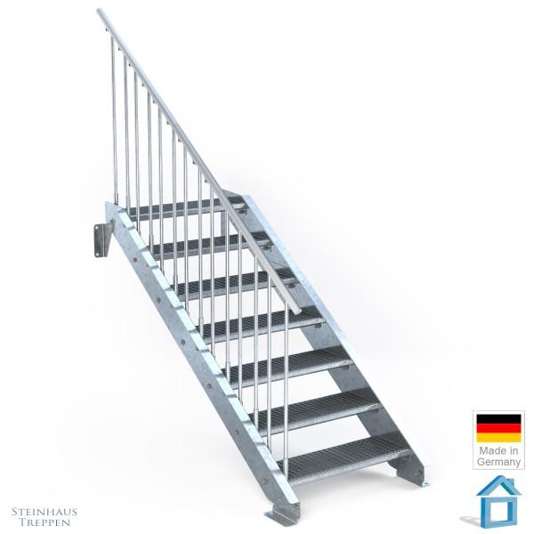 Außentreppe 7 Stahl Stufen 80 cm 8 Steigungen