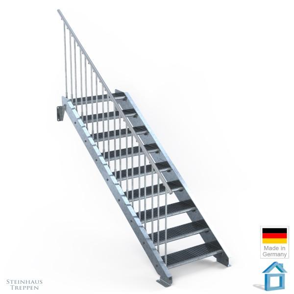 Außentreppe 9 Stahl Stufen 80 cm 10 Steigungen