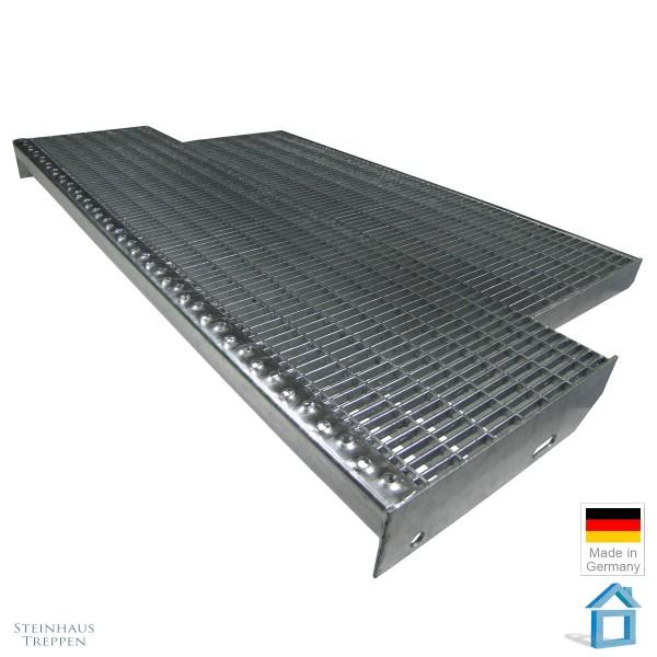 Podeststufe 120 cm Stahlrost mit Laibungstiefe