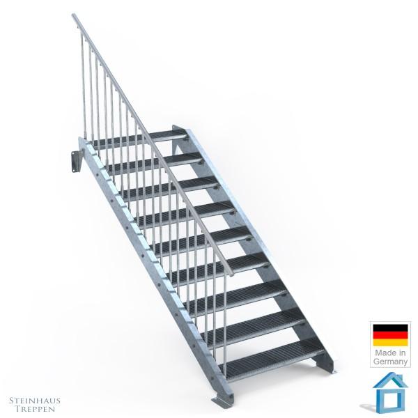 Außentreppe 9 Stahl Stufen 100 cm 10 Steigungen