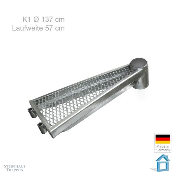 Zusatzstufe 57 cm, Wendeltreppe K1 Ø 137 cm