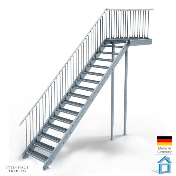 Außentreppe mit Podest 135 cm, 16 Stahlstufen 80 cm