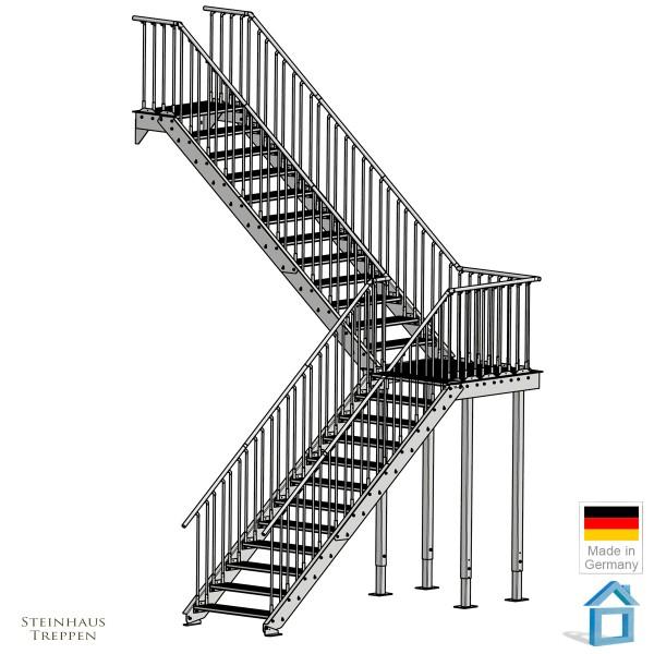 Eingangstreppe 24 Stg. GH 480 cm, gewendelt
