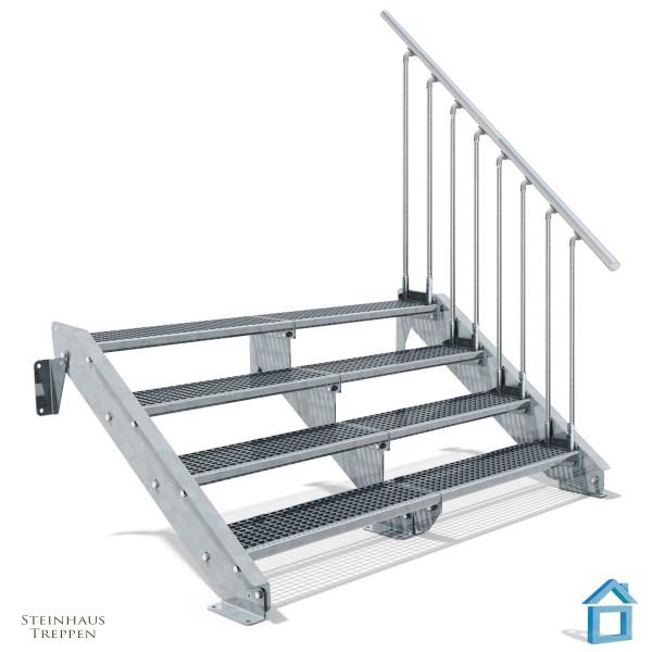 Stahltreppe 4 Stufen 200 - 240 cm Breite