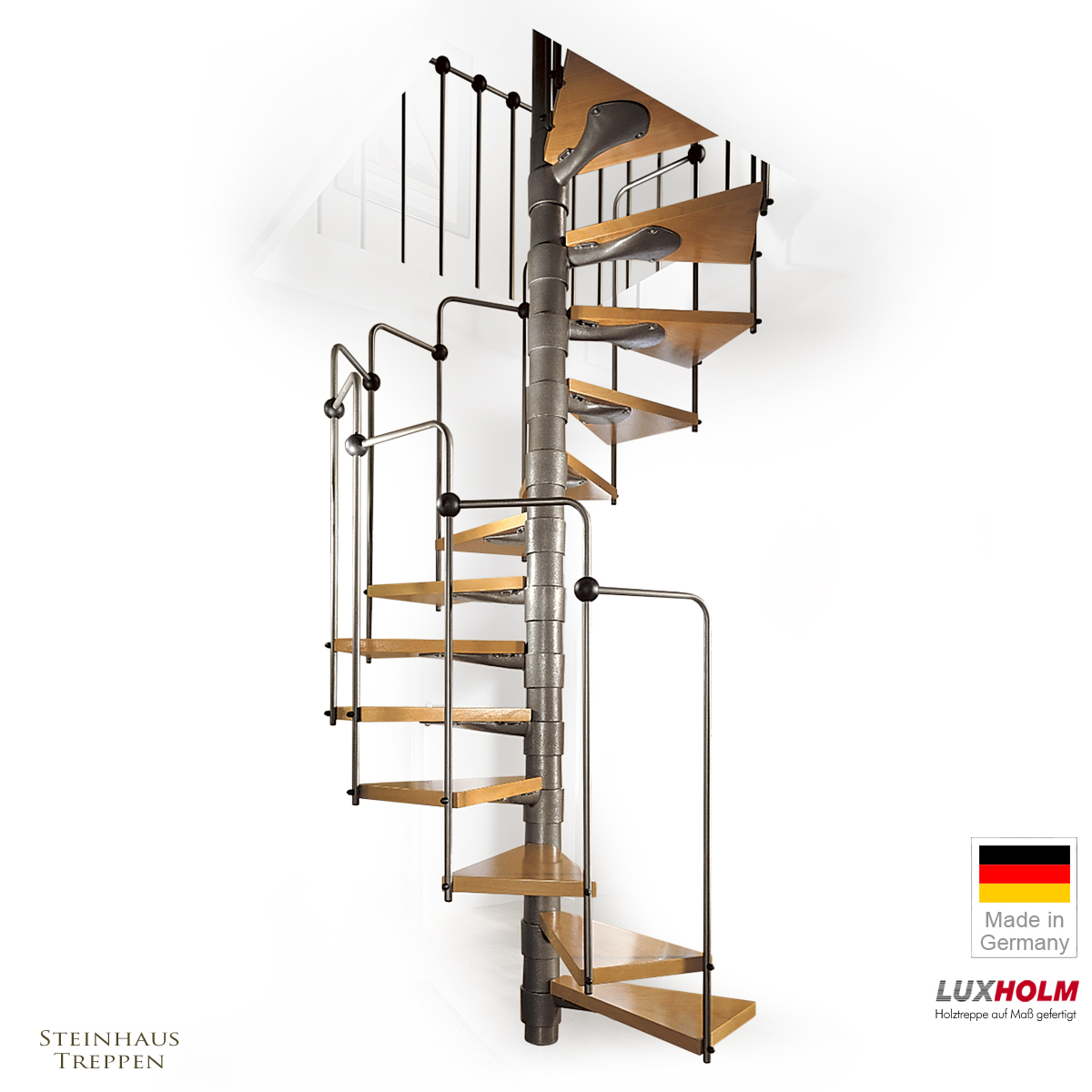 wendeltreppe mit stahlgel nder 140 cm mit holzstufen. Black Bedroom Furniture Sets. Home Design Ideas