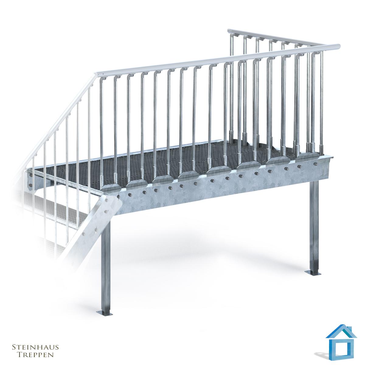 Vorbau Balkon Stahlpodest Auf St Tzen Steinhaus Treppen