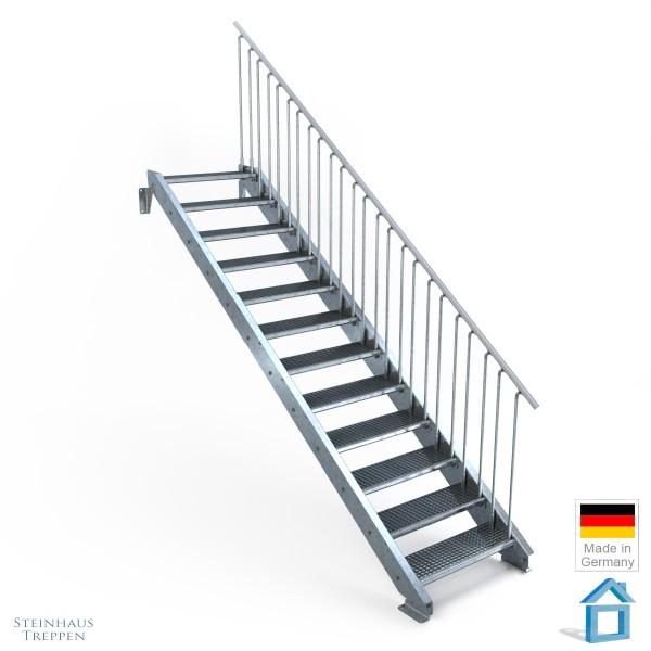 Außentreppe 12 Stahl Stufen 80 cm 13 Steigungen