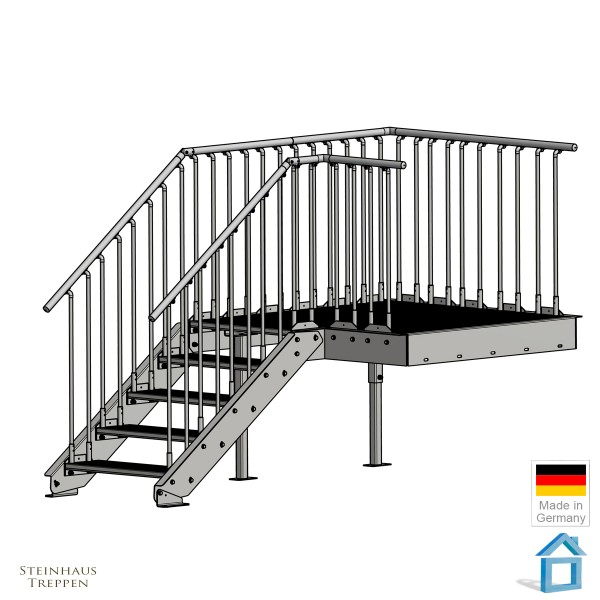 Stahlpodest Ladebühne 130 x 160 cm Außentreppe Gitterrost