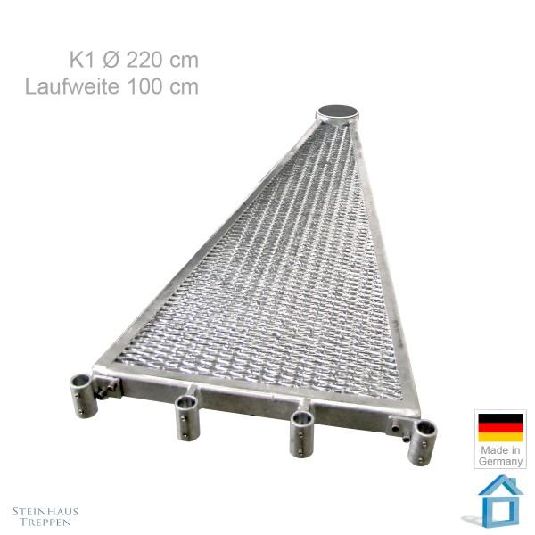 Treppenstufe 100 cm Breite an Wendeltreppe K1