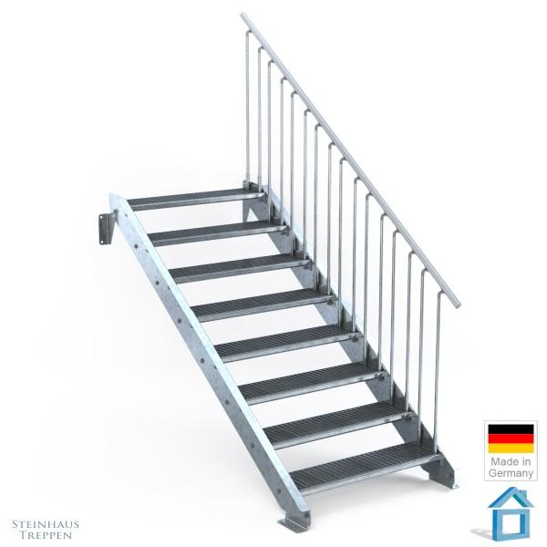 Außentreppe 8 Stahl Stufen 100 cm 9 Steigungen