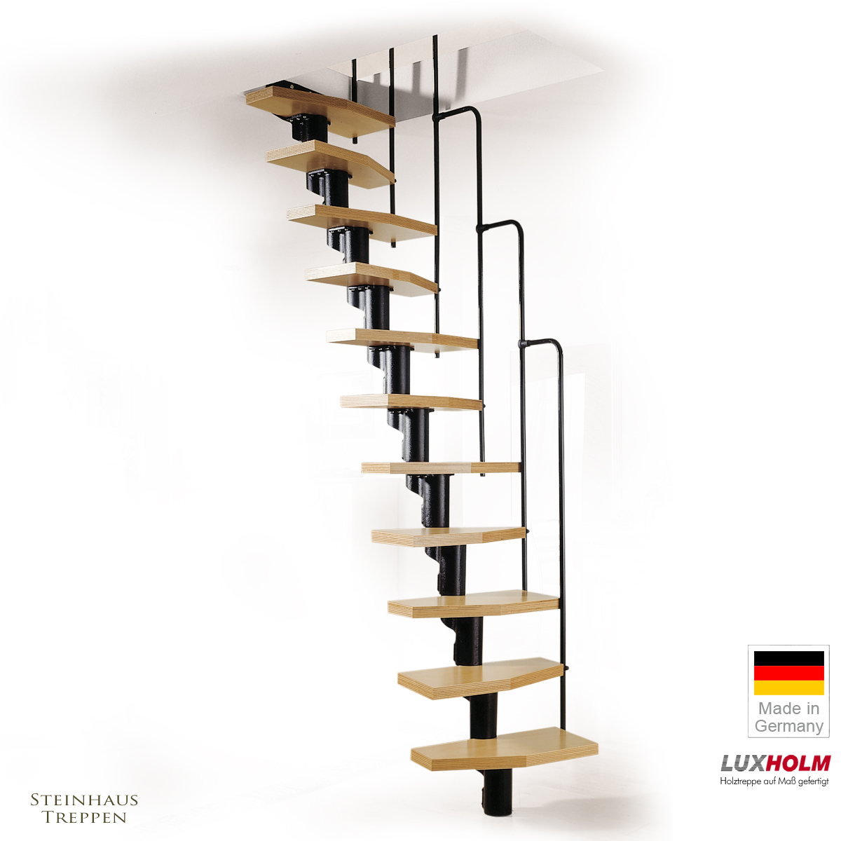 mittelholmtreppen f r kurze ffnungen schmale stufen. Black Bedroom Furniture Sets. Home Design Ideas