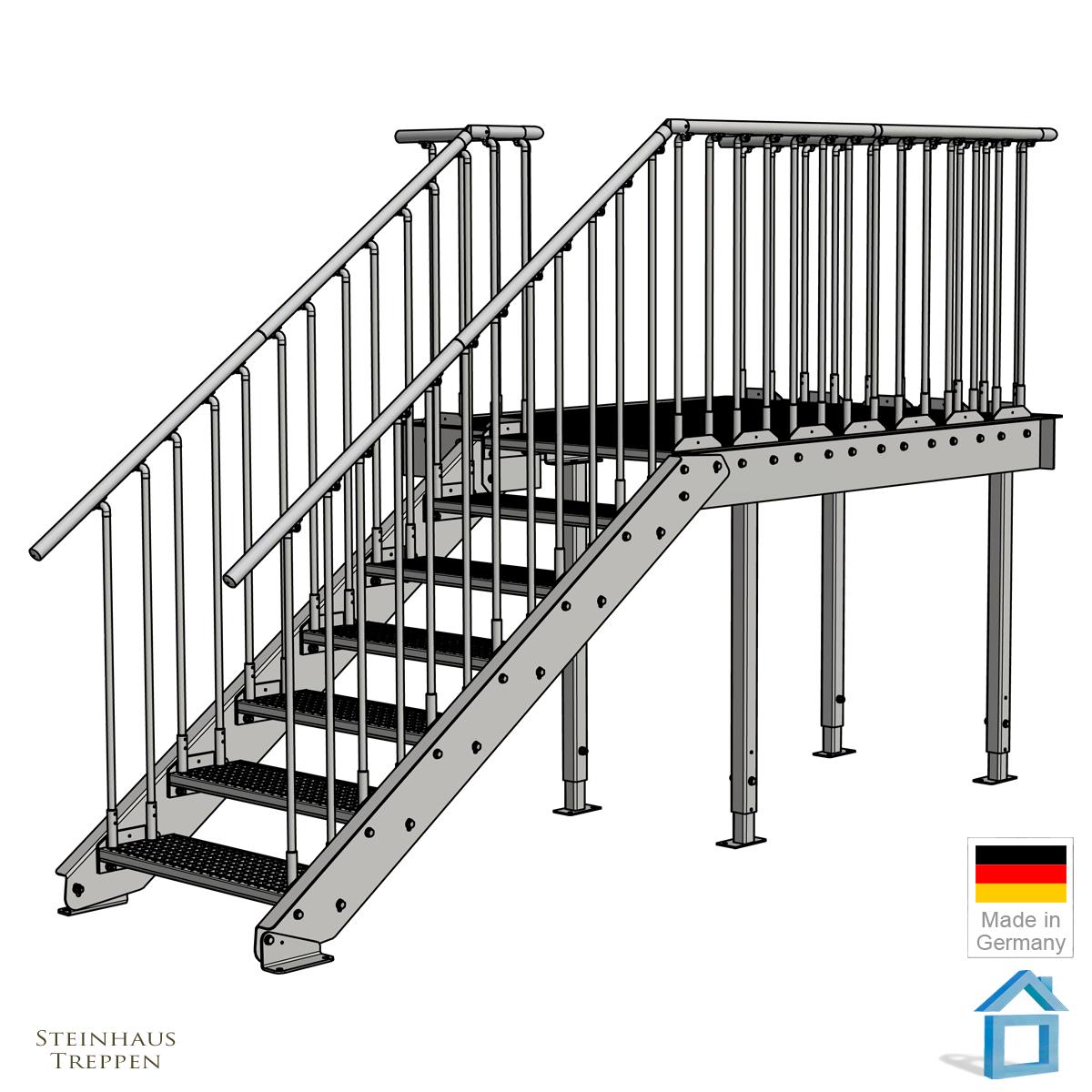 vorbaubalkon mit treppenzugang zum garten steinhaus. Black Bedroom Furniture Sets. Home Design Ideas