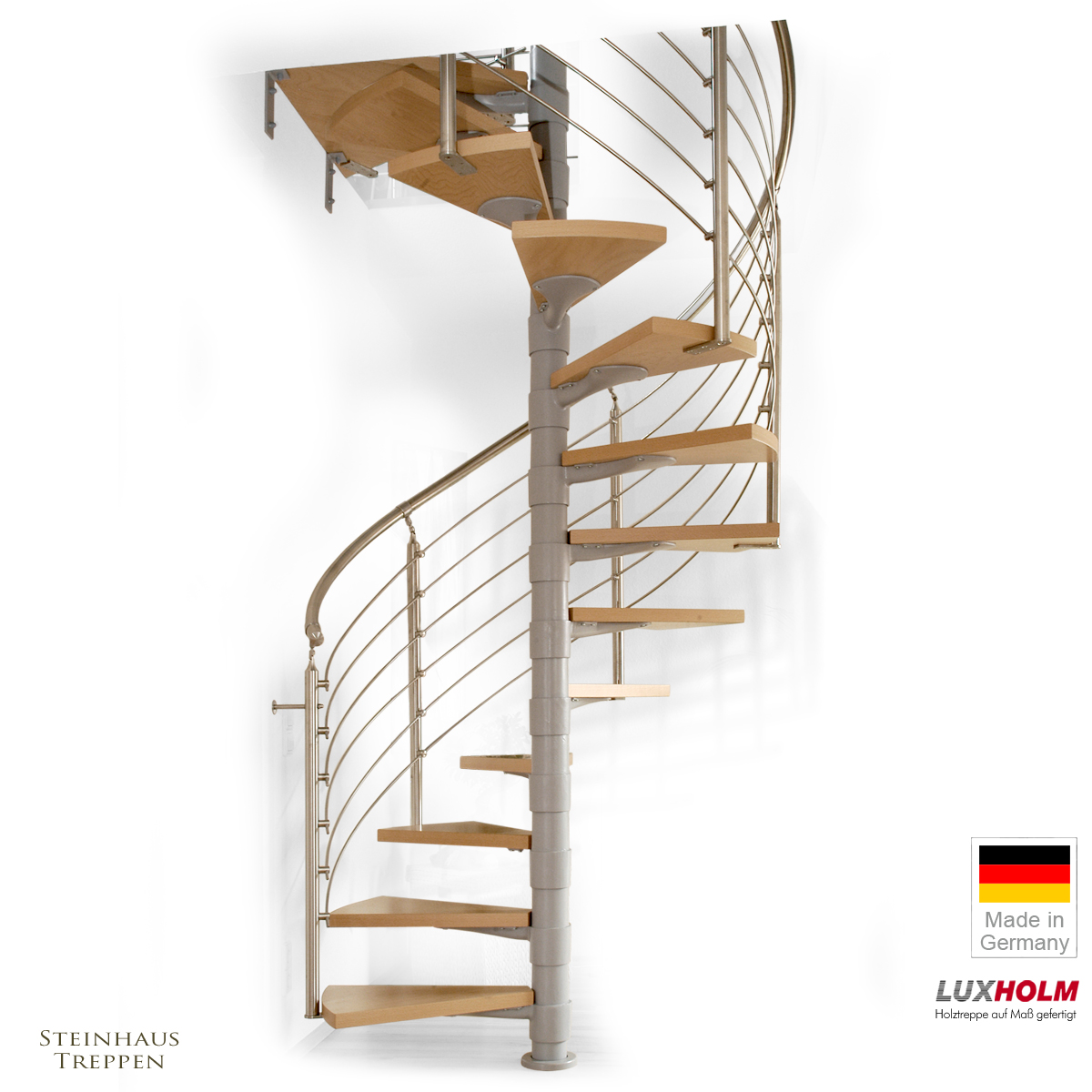 wendeltreppe luxholm rondo mit holzstufen 140 cm steinhaus treppen treppen g nstig kaufen. Black Bedroom Furniture Sets. Home Design Ideas