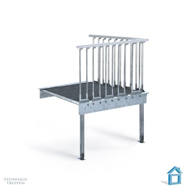 Stahlpodest 120 cm mit Stützen