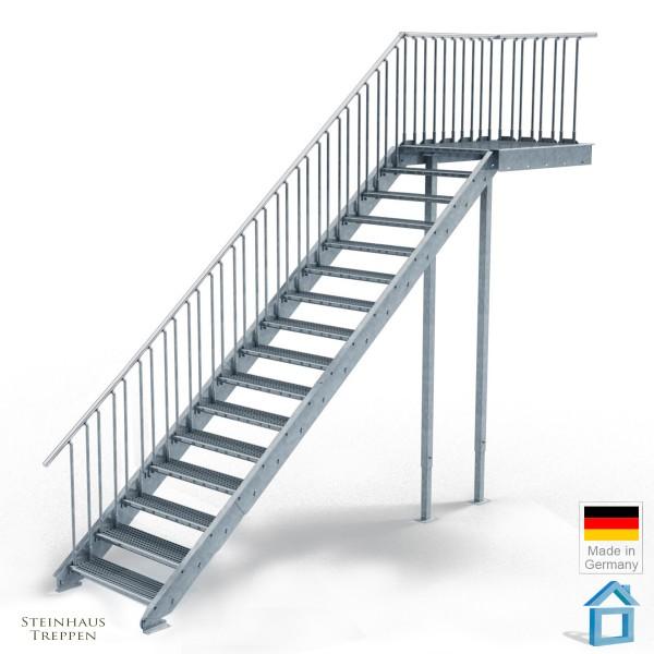 Außentreppe mit Podest 135 cm, 16 Stahlstufen 100 cm