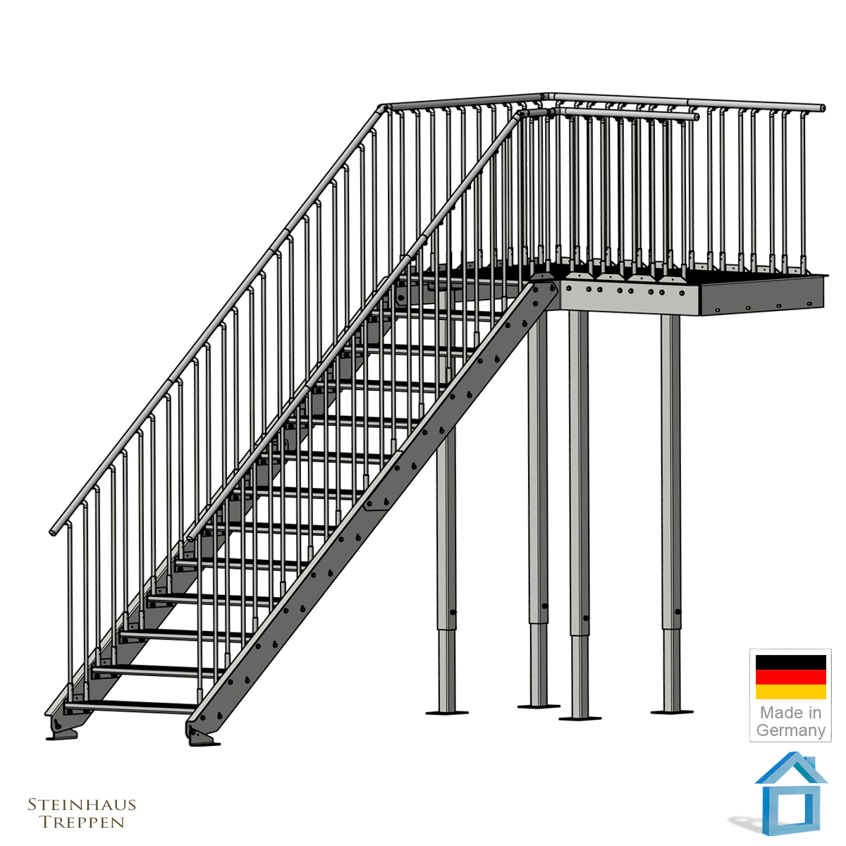 treppenpodest gh 240 cm bis 320 cm mit bergang stahl br cke 100 x 216 cm steinhaus treppen. Black Bedroom Furniture Sets. Home Design Ideas