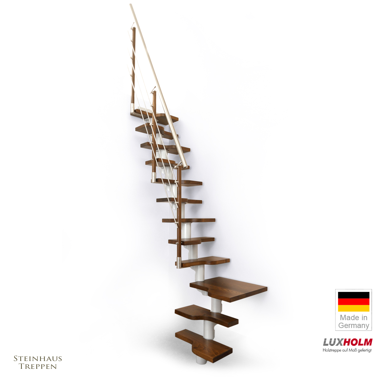 mittelholmtreppe f r geringen platzbedarf raumspartreppe quadro mit podeststufe. Black Bedroom Furniture Sets. Home Design Ideas