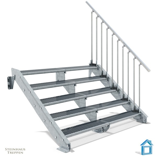 Stahltreppe 5 Stufen 200 - 240 cm Breite