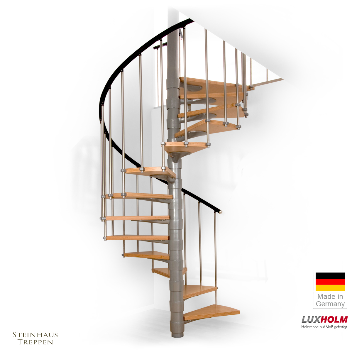wendeltreppe luxholm rondo mit holzstufen 160 cm steinhaus treppen treppen g nstig kaufen. Black Bedroom Furniture Sets. Home Design Ideas