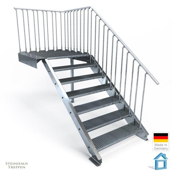 Stahltreppe 7 Stufen Normbreiten, Podest 135 cm