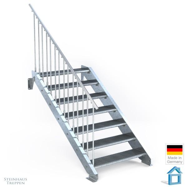 Außentreppe 7 Stahl Stufen 100 cm 8 Steigungen