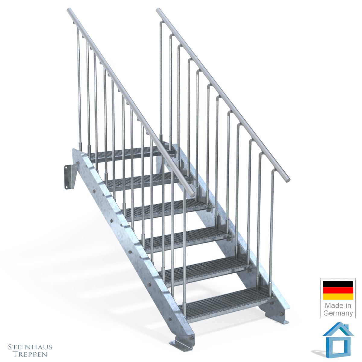terrassen treppe stahl mit stufeneinlagen aus stahlgitter. Black Bedroom Furniture Sets. Home Design Ideas