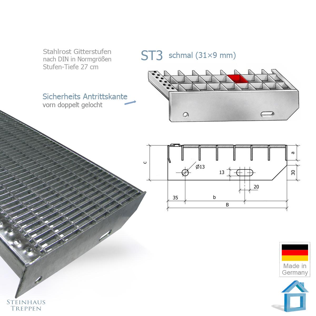 au entreppe stahl verzinkt mit belag aus stahlgitter in 100 breite. Black Bedroom Furniture Sets. Home Design Ideas
