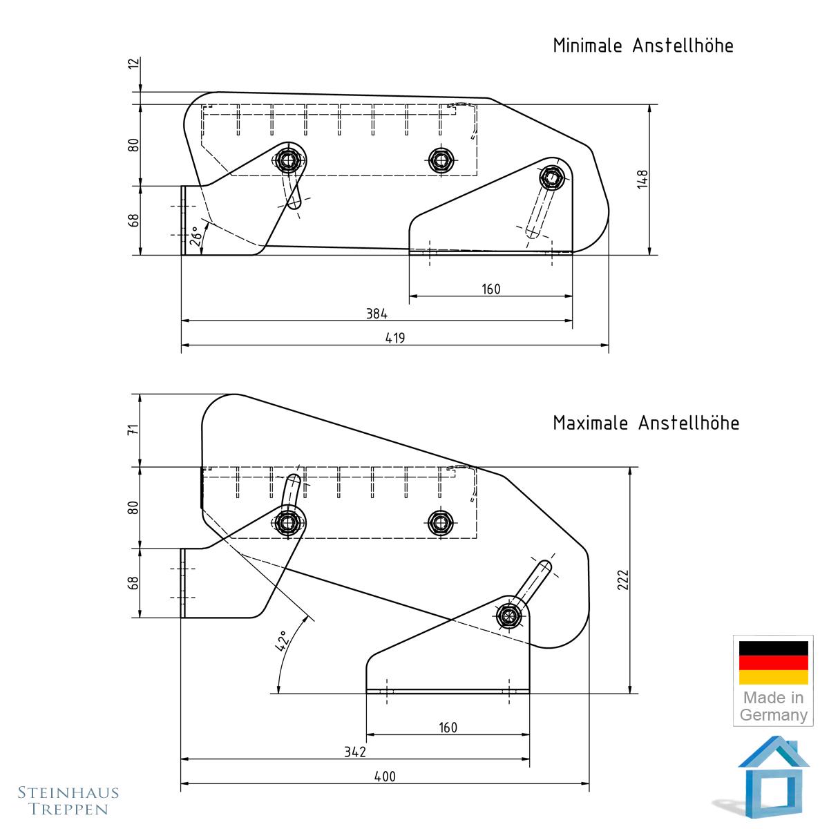 balkont r eingang gitterstufe steigung 16 46 cm norml ngen 60 bis 120 cm. Black Bedroom Furniture Sets. Home Design Ideas