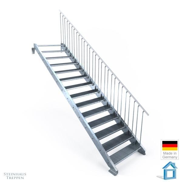 Außentreppe 14 Stahl Stufen 100 cm 15 Steigungen