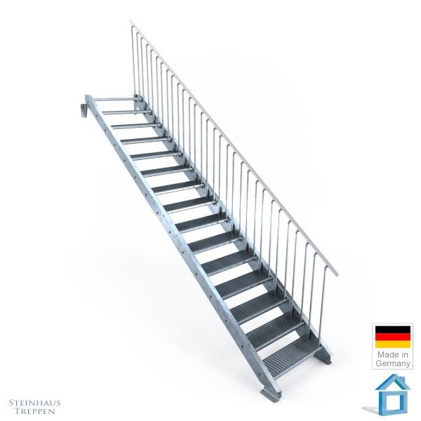 Außentreppe Stahl 15 Stufen 80 - 120 cm, Höhen bis 300 cm