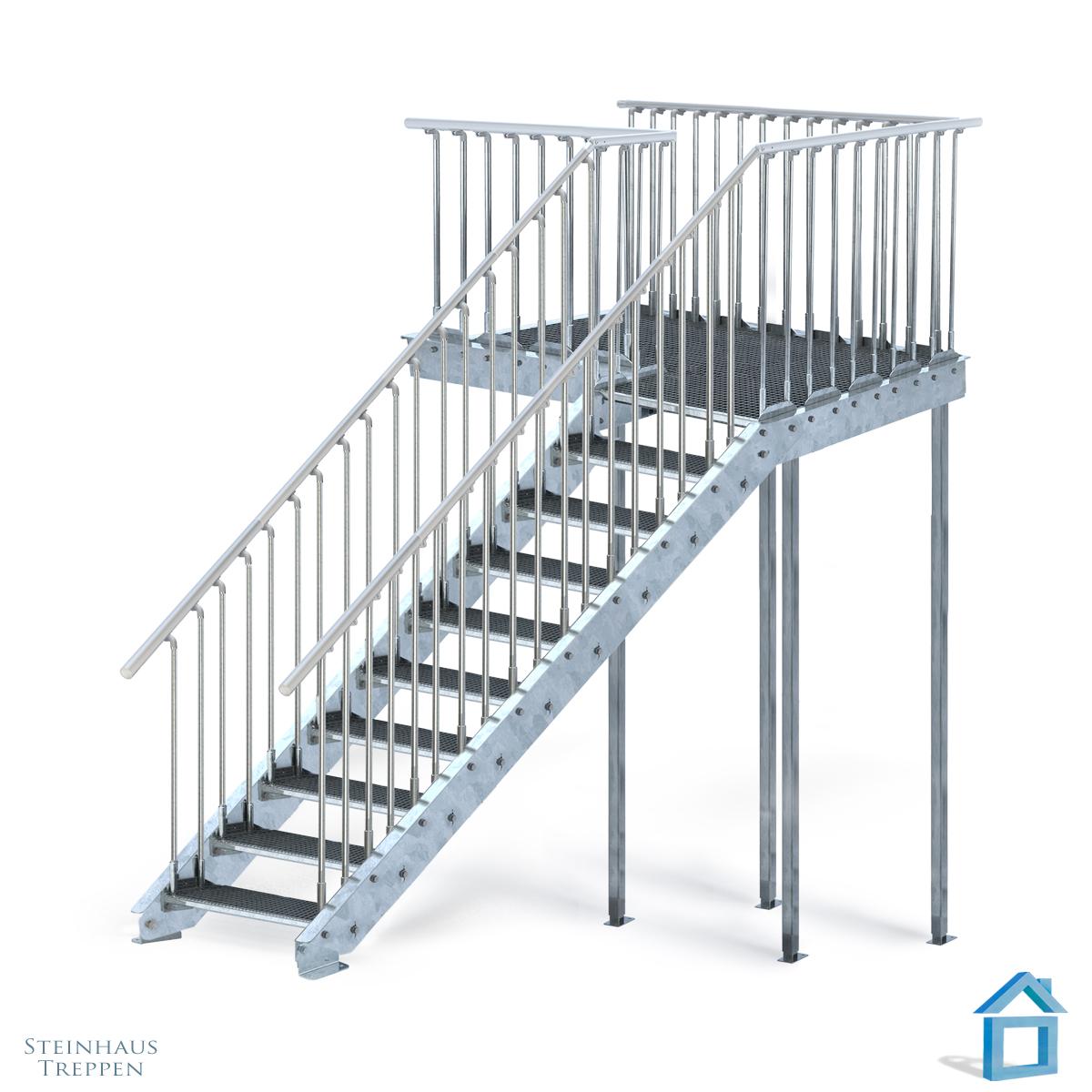 treppenpodest gh 180 cm bis 320 cm mit bergang stahl. Black Bedroom Furniture Sets. Home Design Ideas