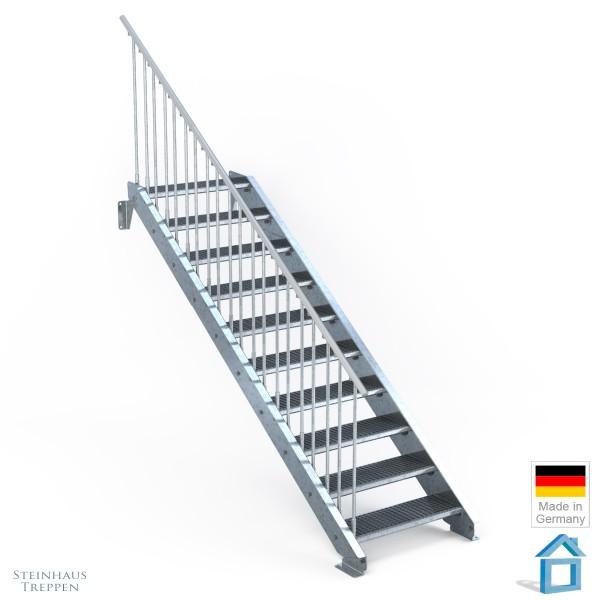 Außentreppe 10 Stahl Stufen 80 cm 11 Steigungen