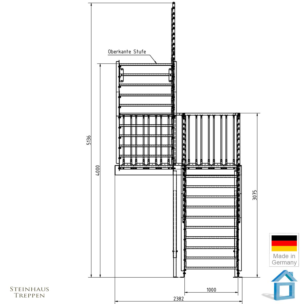 au entreppe stahl bausatz mit mittel podest zum 2 stockwerk mit din stahlgitter stufen. Black Bedroom Furniture Sets. Home Design Ideas