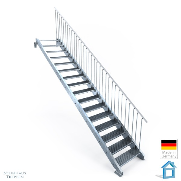 Außentreppe Stahl 16 Stufen 80 - 120 cm, Höhen bis 340 cm