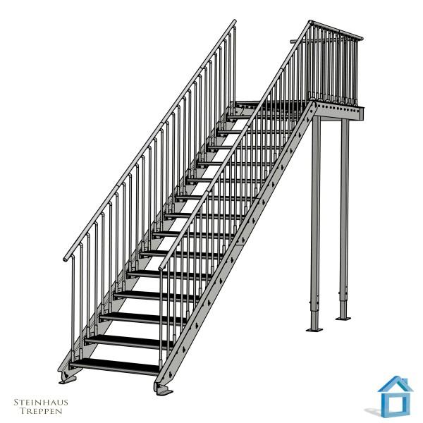 Außentreppe 15 Stg. Breite 100 cm mit Lang-Podest