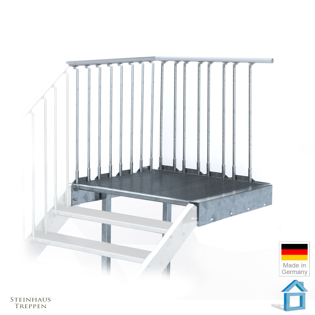 podest f r stahltreppe 80 cm feuerverzinkt mit st tzen steinhaus treppen treppen g nstig kaufen. Black Bedroom Furniture Sets. Home Design Ideas